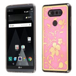 LG V20 Phoenix-tail Flowers Electroplating (Pink)/Transparent Clear Gummy Cover