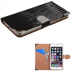 Apple iPhone 6 Plus Black Crocodile Skin Wallet with Metal Diamonds Buckle & Silver Plating Tray