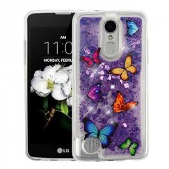 LG K8 Butterfly Dancing & Purple Quicksand (Hearts) Glitter Hybrid Case