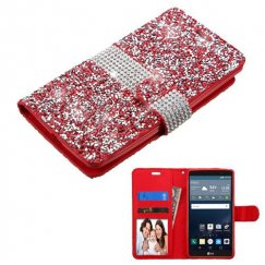LG G Stylo Red Mini Crystals with Silver Belt Wallet