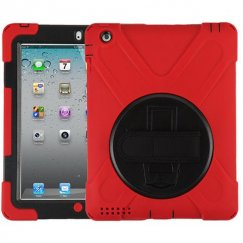AppleiPad 1st Generation 2010 Black/Red Rotatable Stand Protector Cover (with Wristband)