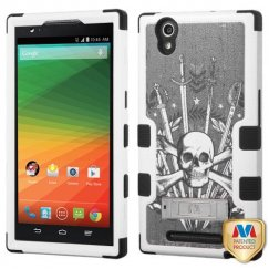 ZTE ZMax Sword & Skull/Black Hybrid Case with Stand