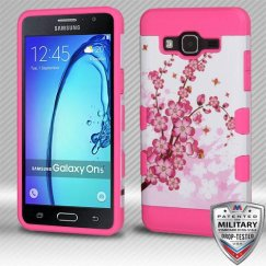 Samsung Galaxy On5 Spring Flowers/Electric Pink Hybrid Case Military Grade