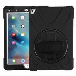 AppleiPad iPad Pro 9.7 2016 Black/Black Rotatable Stand Protector Cover (with Wristband)
