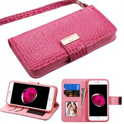 Apple iPhone 8 Plus Hot Pink Crocodile-Embossed Wallet