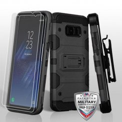 Samsung Galaxy S8 Plus Black/Black 3-in-1 Storm Tank Hybrid Case Combo with Black Holster and Twin Screen Protectors Military Grade