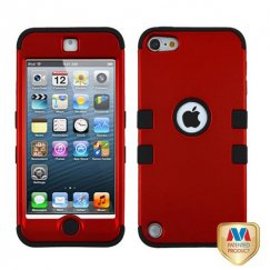 Apple iPod Touch (5th Generation) Titanium Red/Black Hybrid Case