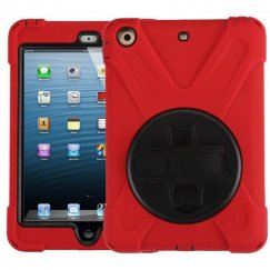 AppleiPad Mini 3rd Gen Black/Red Rotatable Stand Protector Cover (with Wristband)