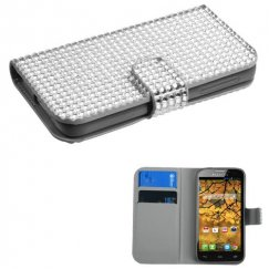 Alcatel One Touch Fierce Silver Diamonds Book-Style Wallet with Card Slot