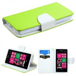 Nokia Lumia 521 Green Pattern/White Liner wallet with Card Slot