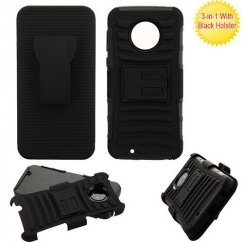 Motorola Moto G6 Black/Black Advanced Armor Stand Protector Cover Combo (with Black Holster)