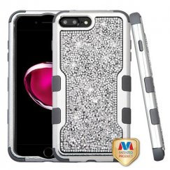 Apple iPhone 8 Plus Silver Plating Frame Mini Crystals Back/Iron Gray Vivid Hybrid Case
