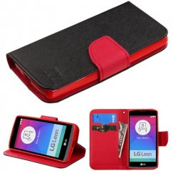 LG Leon H345 Black Pattern/Red Liner Wallet with Card Slot