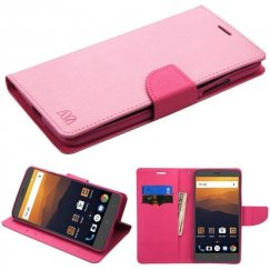 ZTE Blade Max 3 / Max XL Pink Pattern/Hot Pink Liner Wallet with Card Slot