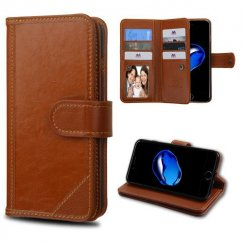Apple iPhone 8 Brown Genuine Leather Deluxe Wallet with Button Closure