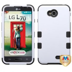LG Optimus L70 Ivory White/Black Hybrid Case