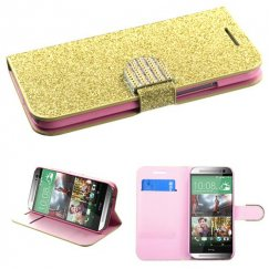 HTC One M8 Gold Glittering Wallet with Diamante Belt