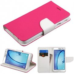 Samsung Galaxy On7 Hot Pink Pattern/White Liner wallet with card slot