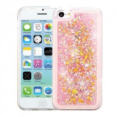 Apple iPhone 5c Stars & Pink Quicksand Glitter Hybrid Case