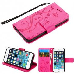 Apple iPhone 5s Hot Pink 3D Butterfly Flower Wallet(IM024) -NP