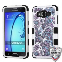 Samsung Galaxy On5 Purple European Flowers/Black Hybrid Case