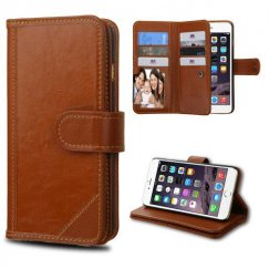 Apple iPhone 6 Plus Brown Genuine Leather Deluxe Wallet with Button Closure