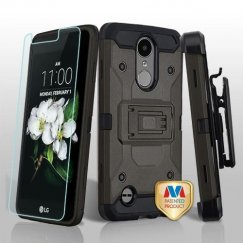 LG K8 Dark Grey/Black 3-in-1 Kinetic Hybrid Case Combo with Black Holster and Tempered Glass Screen Protector