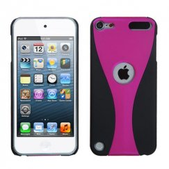 Apple iPod Touch (5th Generation) Hot Pink/Black Wave Back Case - Rubberized