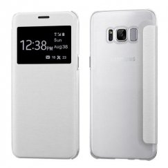 Samsung Galaxy S8 White Silk Texture Wallet with Transparent Frosted Tray