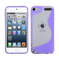 Apple iPod Touch (5th Generation) Transparent Clear/Purple (S Shape) Gummy Cover