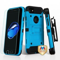 Apple iPhone 8 Blue/Black 3-in-1 Case Combo with Black Holster with Tempered Glass Screen Protector