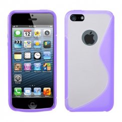 Apple iPhone 5c Transparent Clear/Purple (S Shape) Gummy Cover
