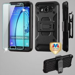 Samsung Galaxy On5 Black/Black 3-in-1 Case Combo with Black Holster with Tempered Glass Screen Protector