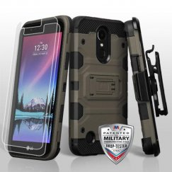 LG K10 Dark Grey/Black 3-in-1 Storm Tank Hybrid Case Combo with Black Holster and Flexible Shatter-Proof Screen Protector - Military Grade