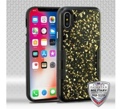 best cheap 7a9ea 0337f Apple iPhone X Gold Flakes (Natural Black)/Black Contempo Hybrid Case