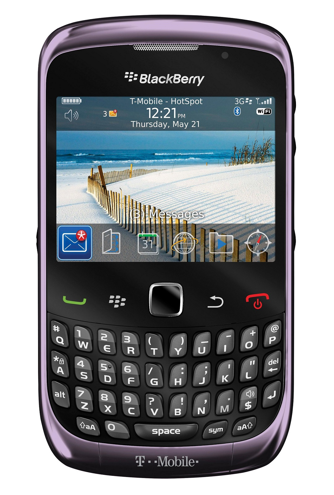 Blackberry 9300 Curve 3G WiFi Bluetooth Phone in Smokey Violet Unlocked