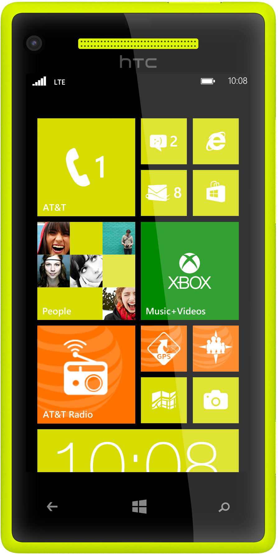 Htc windows phone 8x 4g lte nfc yellow smart phone att for Window 4g phone