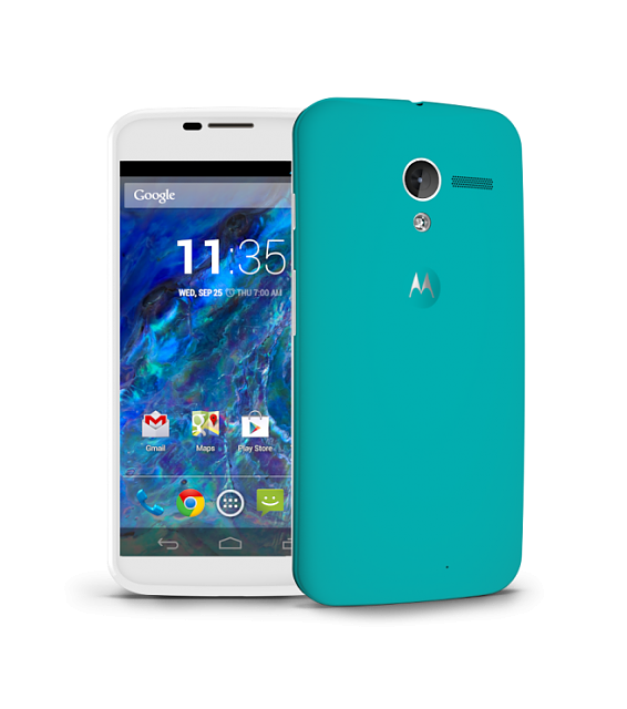Motorola Moto X 16GB XT1056 Android Smartphone for Sprint - White Front with Teal Back