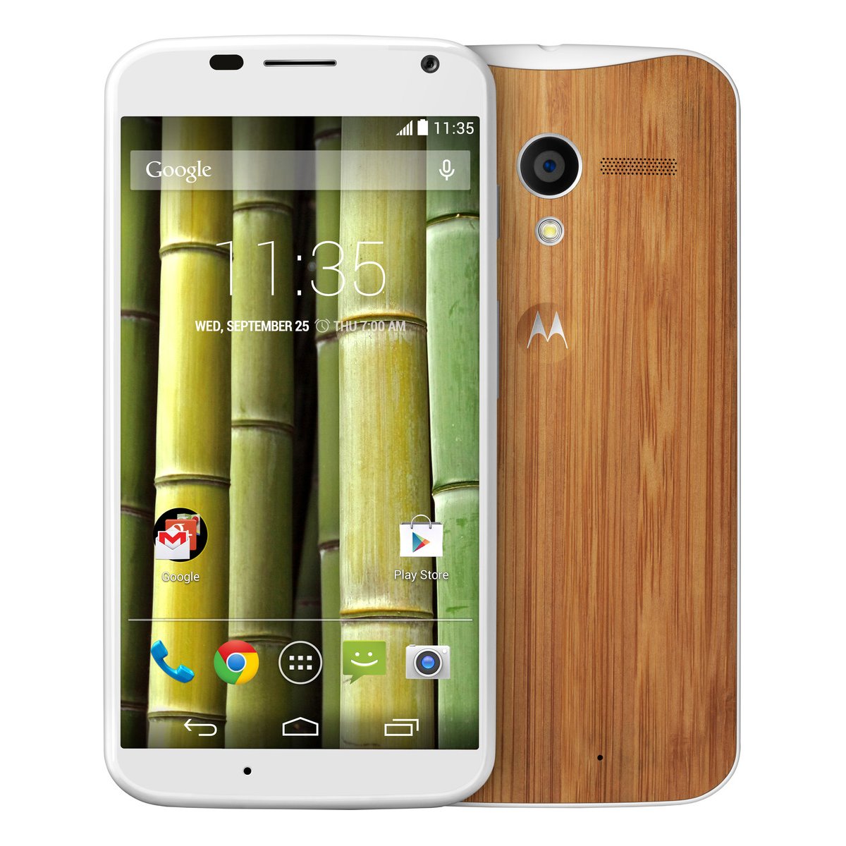 Motorola Moto X WiFi GPS Android 4G LTE Phone Sprint in White with Bamboo Back Panel
