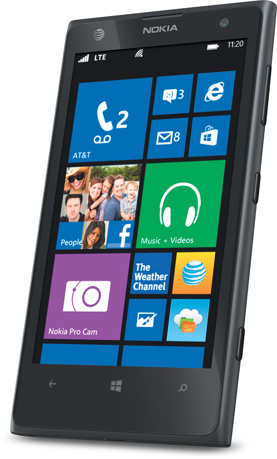 nokia lumia 1020 nfc black wifi gps 4g lte windows phone att mint condition used cell phones. Black Bedroom Furniture Sets. Home Design Ideas