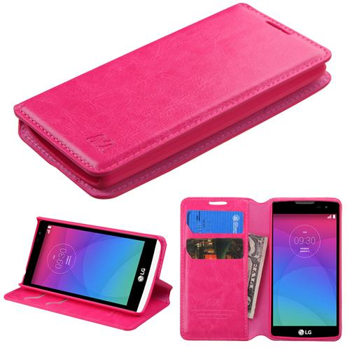 LG Leon H345 Hot Pink Wallet with Tray