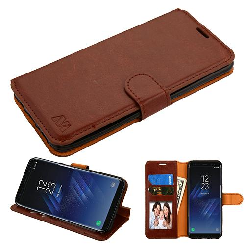 Samsung Galaxy S8 Plus Brown Wallet with Tray