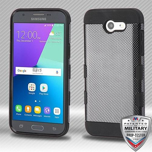 Samsung Galaxy J3 Carbon Fiber/Black Hybrid Protector Cover [Military-Grade Certified]