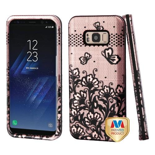 Samsung Galaxy S8 Plus Black Lace Flowers (2D Rose Gold)/Black Hybrid Protector Cover [New Improved Design]