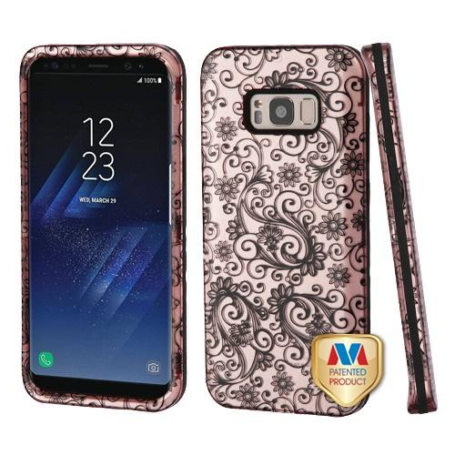 Samsung Galaxy S8 Plus Black Four-Leaf Clover (2D Rose Gold)/Black Hybrid Protector Cover [New Improved Design]
