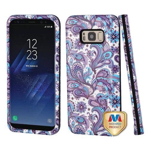 Samsung Galaxy S8 Plus Purple European Flowers/Black Hybrid Protector Cover [New Improved Design]