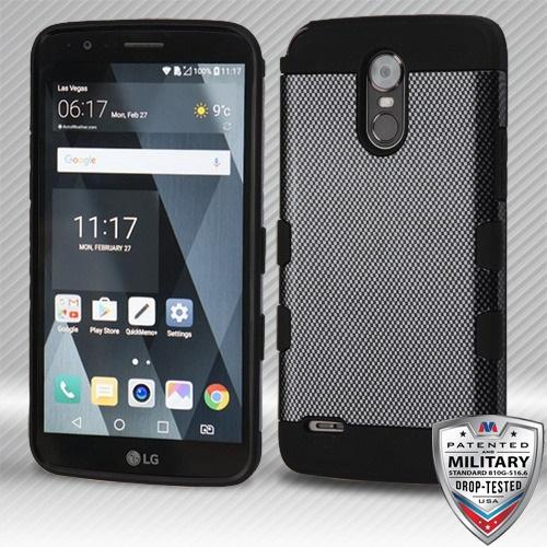 LG G Stylo 3 Carbon Fiber/Black Hybrid Protector Cover [Military-Grade Certified]