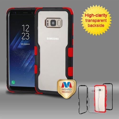 Samsung Galaxy S8 Plus Natural Black Frame????? PC Back/Red Vivid Hybrid Protector Cover